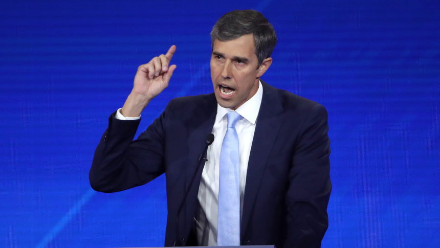 Beto O'Rourke makes a point during a speech in Houston in this file photo.