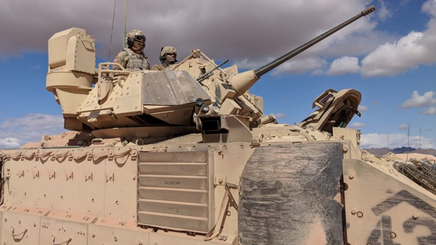 A Bradley crew gets ready for action during the Strike Focus exercise in April at Fort Bliss. (Photo: David Burge/special for KVIA.com)