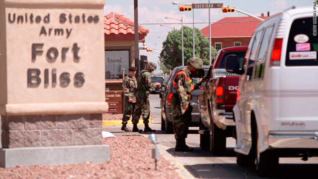 The main gate to the Fort Bliss Army Base is seen in this file photo.