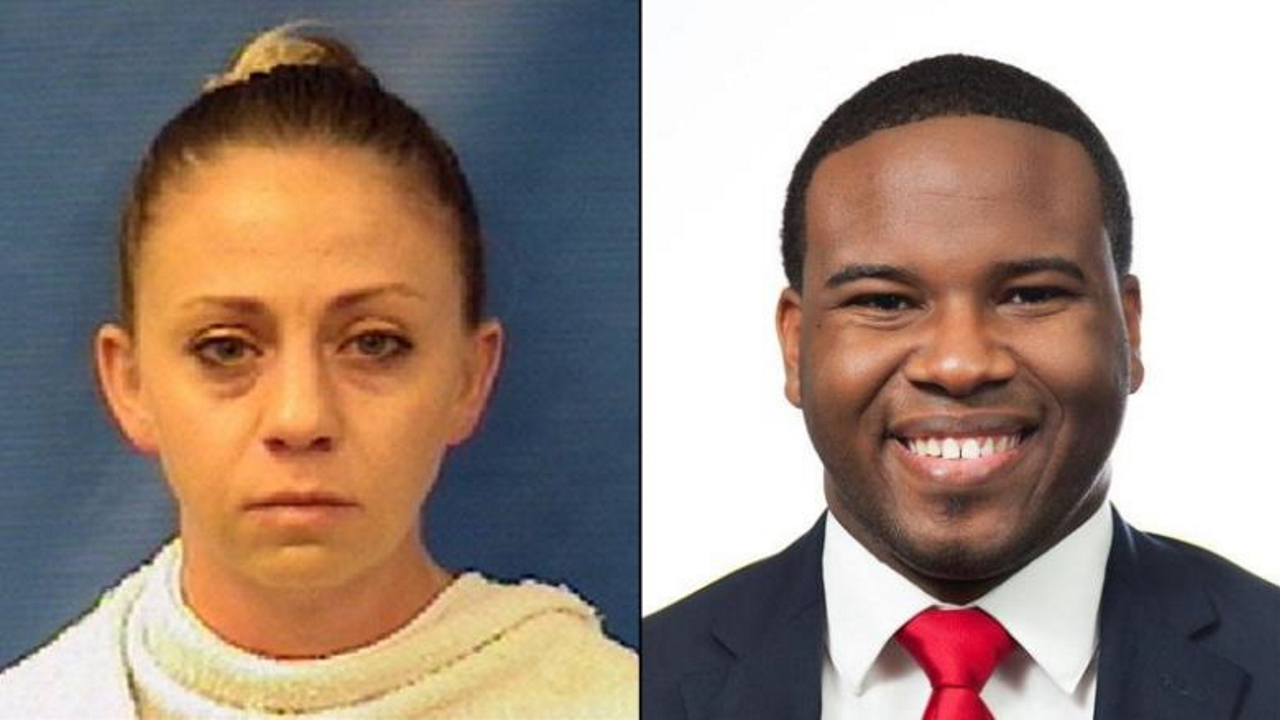 Amber Guyger (left) and Botham Jean (right).