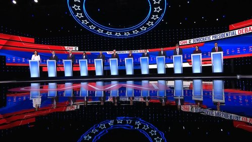 The 10 Democratic candidates at their podiums during the Democratic debate in Atlanta.