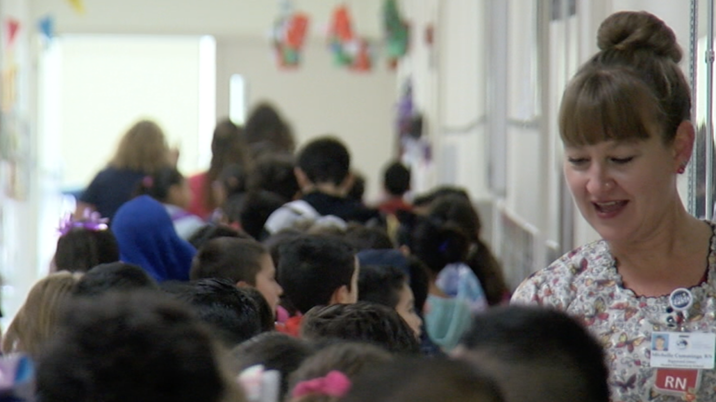 EPISD students walk to class and greet their teachers in this file photo.