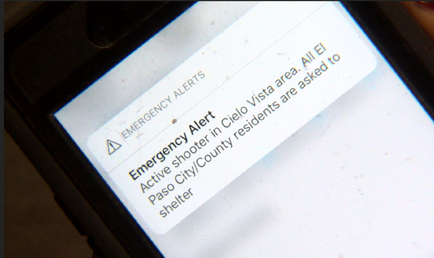 A screenshot of what cell phones across El Paso County received on August 3rd.
