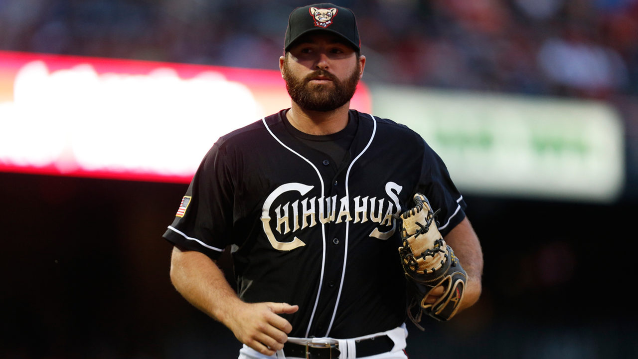 Cody Decker before his retirement as an outfielder for the El Paso Chihuahuas.