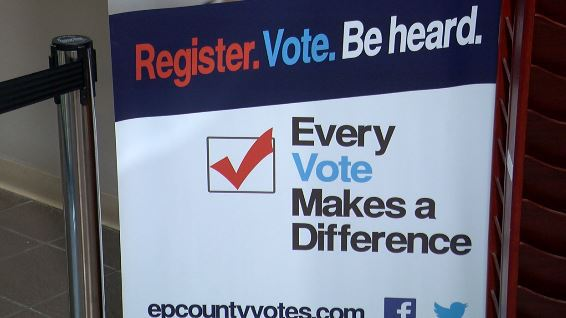 A voter encouragement sign at the El Paso County elections office.