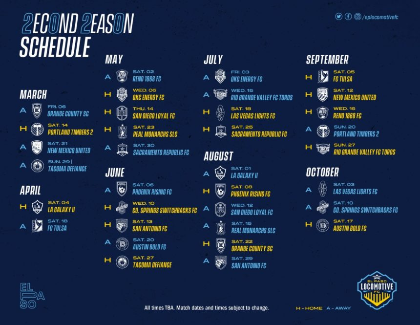 2020 Locomotive Schedule
