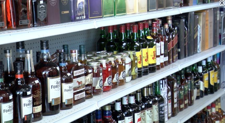 liquor bottles on store shelves