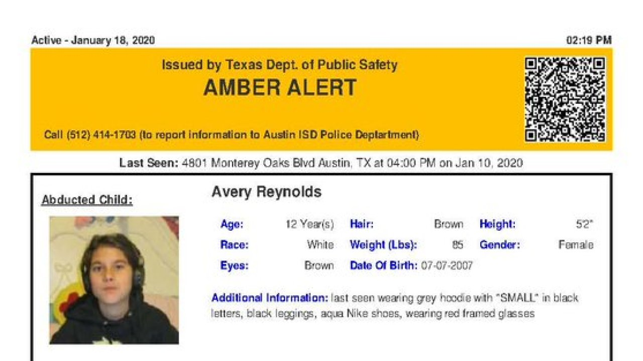 Amber Alert Issued For 12 Year Old Abducted Texas Girl Believed To Be In Grave Danger Kvia
