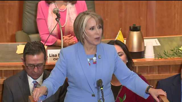 New Mexico Gov. Michelle Lujan-Grisham speaks to the Legislature during the 2020 State of the State address.