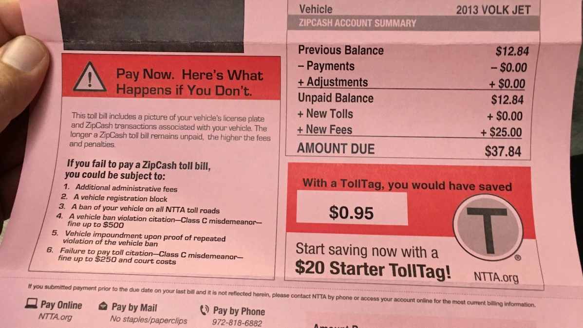 A mistaken toll bill sent to an El Paso motorist.