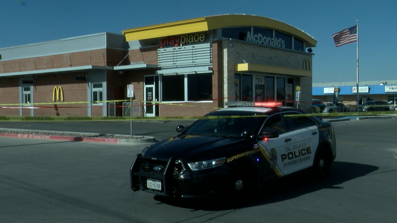 Police at the scene of a stabbing of a young girl at a McDonald's on Dyer Street.