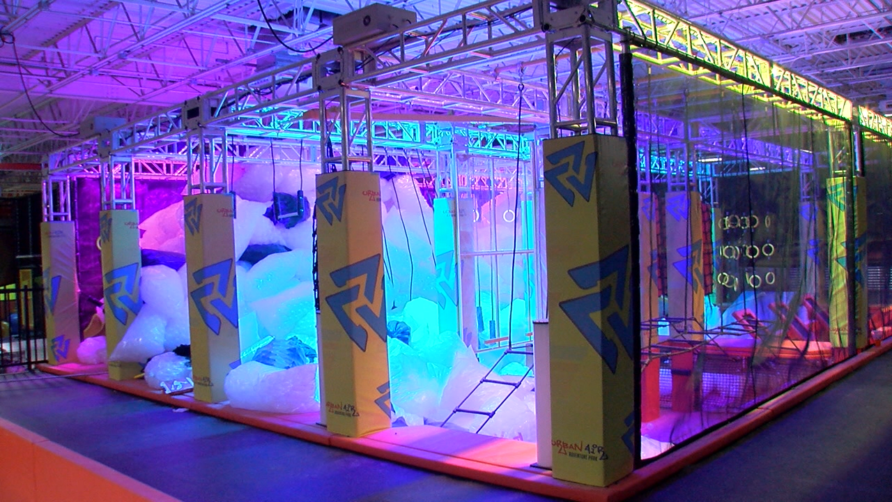 Inside Urban Airz indoor theme park as they prepare to open in a former Toys R Us store location.