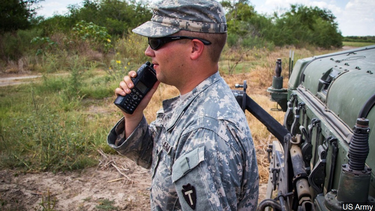 A Texas Army National Guard soldier conducts operations at the Texas-Mexico border in this file photo.