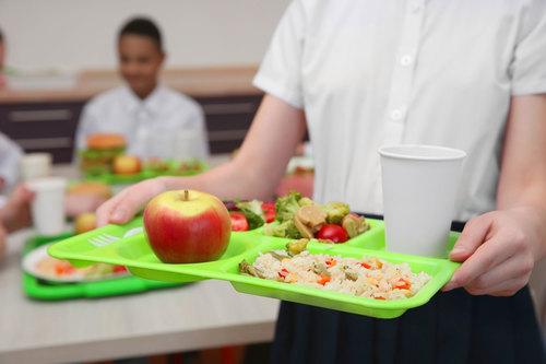 Student lunches being served at school are seen in this file photo.