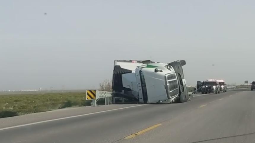 truck blown over