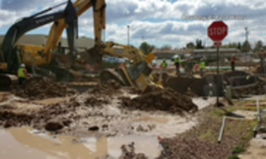excavator pulled out of hole