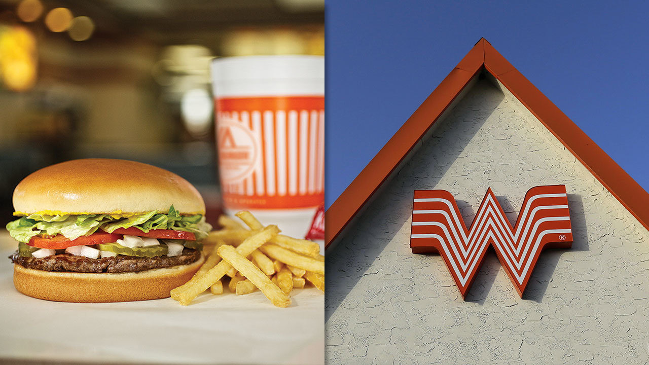 A Whataburger meal and the exterior logo on a restaurant.