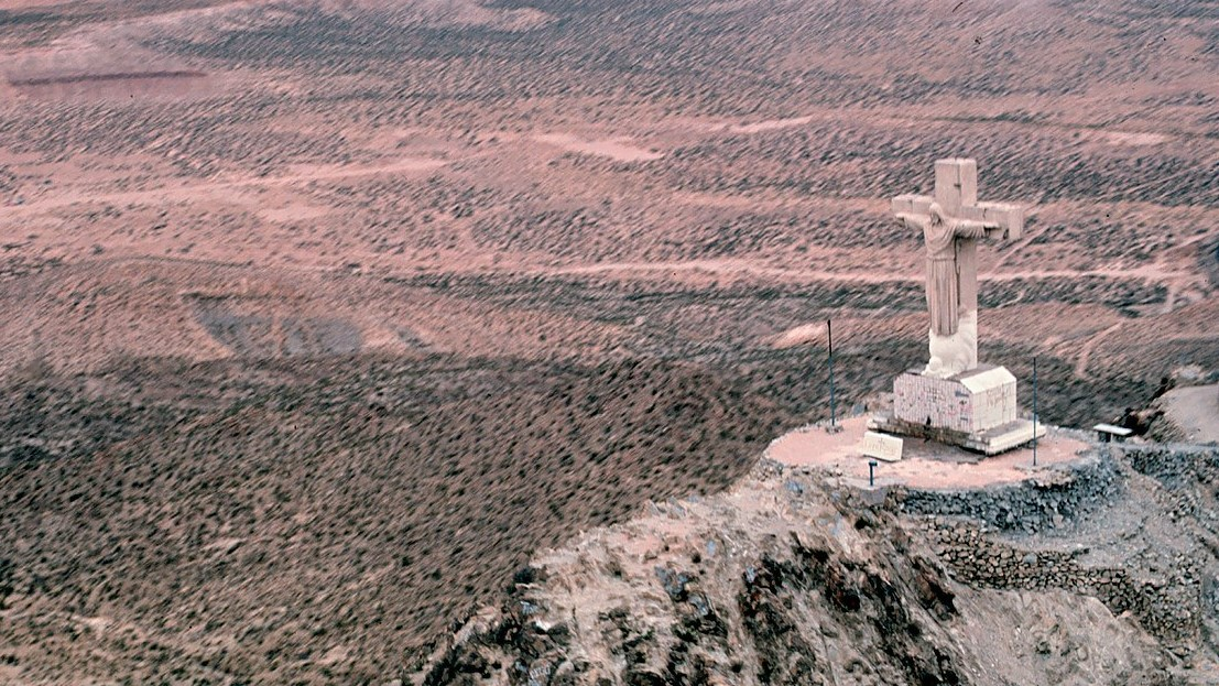 Statue of Christ on the cross on Mount Cristo Rey in Sunland Park.