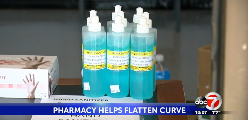 Matthews Pharmacy is making its own hand sanitizer and selling N95 face masks.