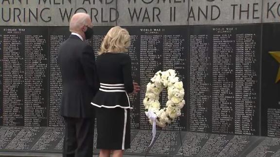 Joe Biden lays a wreath at a war memorial on Mmorial Day in 2020.