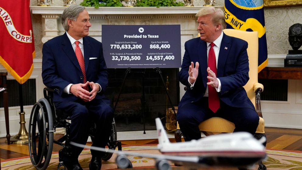 Texas Gov. Greg Abbott meets with President Trump at the White House.