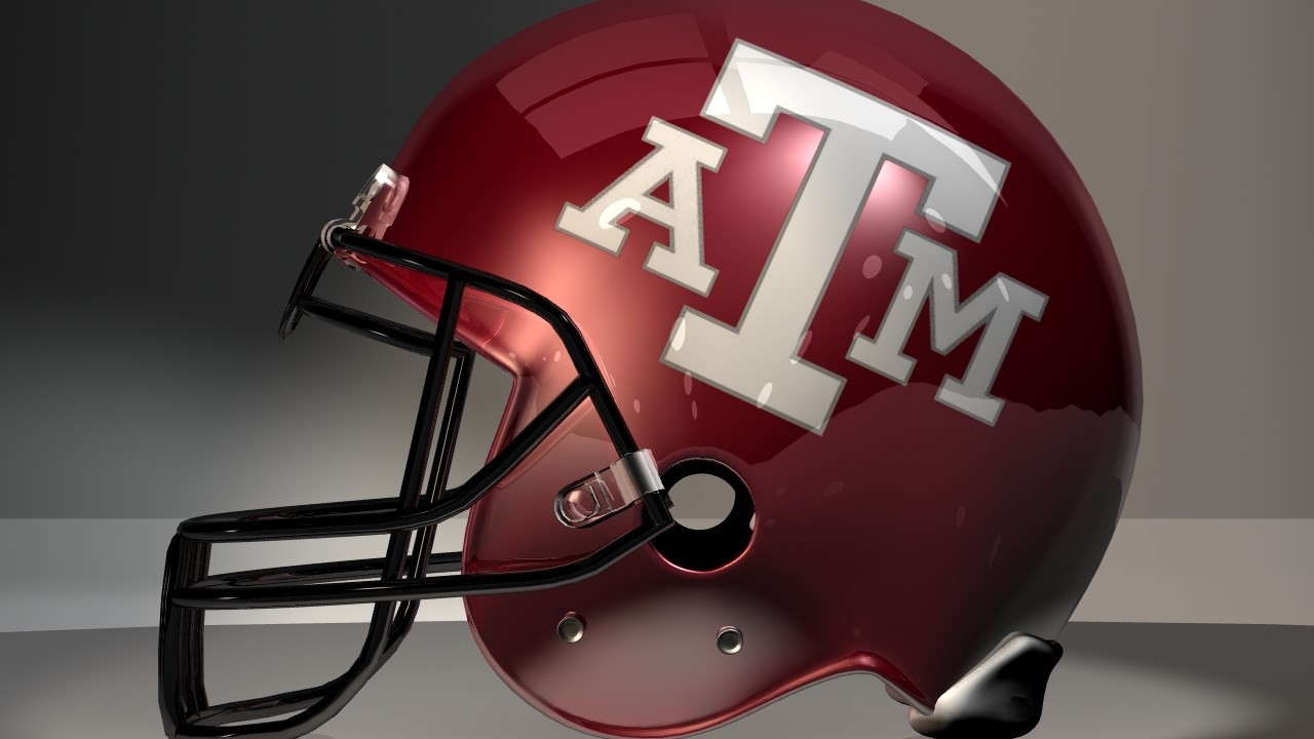 A Texas A&M football helmet sits on display.