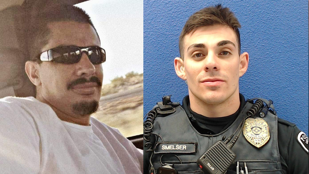 Chokehold death victim Antonio Valenzuela (left) and former Las Cruces police officer Christopher Smelser (right), who is charged with murder.