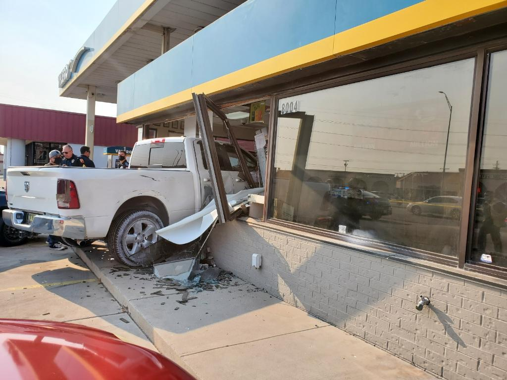 pickup truck crashes into west el paso gas station after heading wrong way on i 10 kvia pickup truck crashes into west el paso