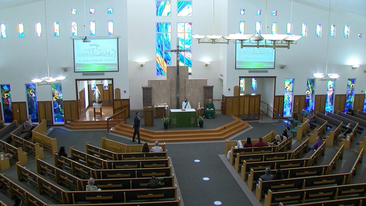 The interior of St. Luke's Catholic Church in El Paso with capacity limits and social distancing.,