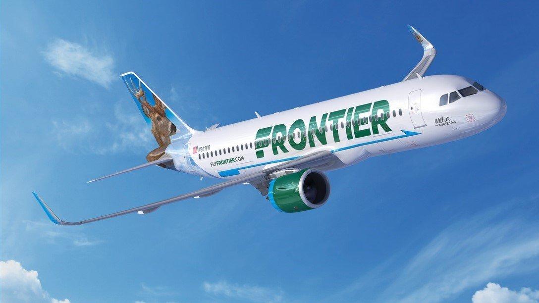 A Frontier Airlines flight en route.