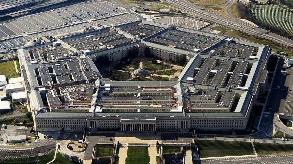 An aerial view of the Pentagon building in Arlington, Virginia.