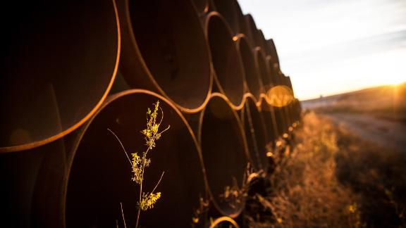 Unused pipe for the Keystone XL pipeline, sit in a lot outside Gascoyne, North Dakota.