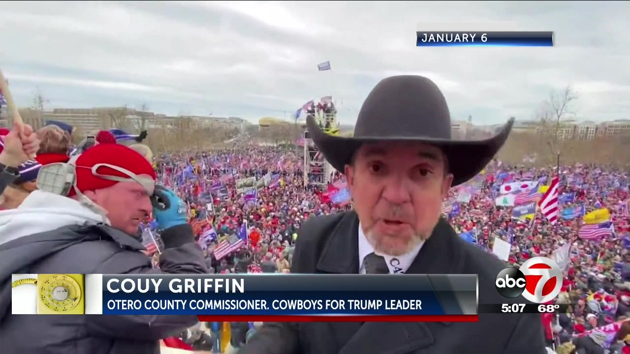 Otero County Commissioner and 'Cowboys for Trump' co-founder Couy Griffin during the protest-turned-riot at the U.S. Capitol.