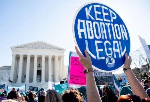 Pro-choice protesters hold demonstrations outside the U.S. Supreme Court building in this file photo.