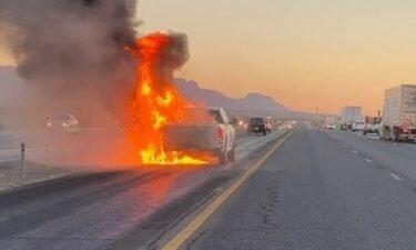 I-10 pickup truck fire