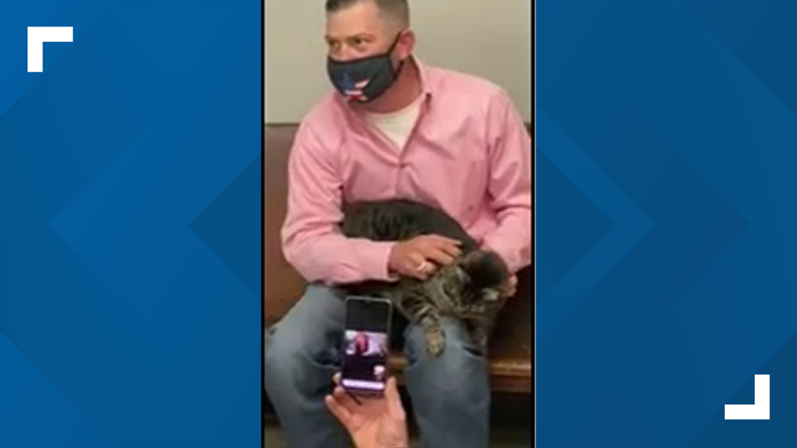 Carl the cat is reunited with his owner.