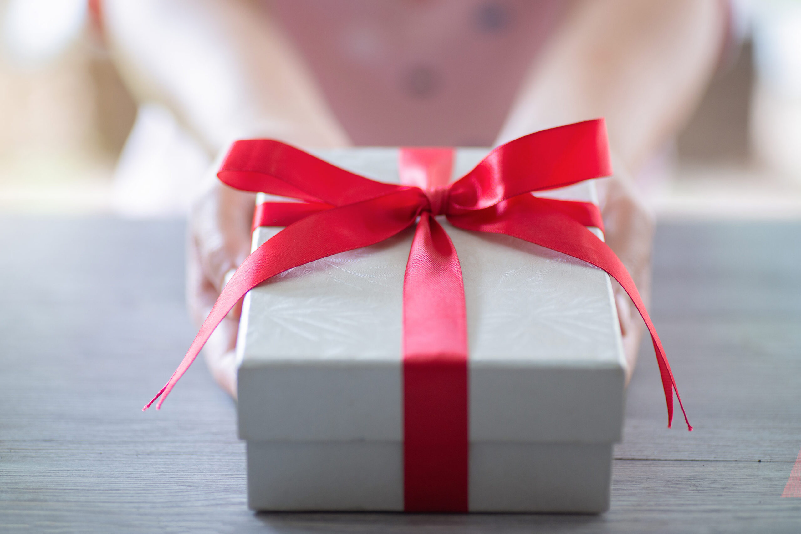 A gift is presented.