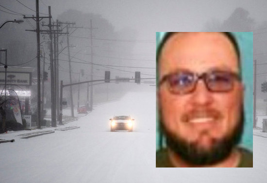 Former Colorado City, Texas mayor Tim Boyd is seen in this composite photo against a backdrop of the snow storm that hit the state.