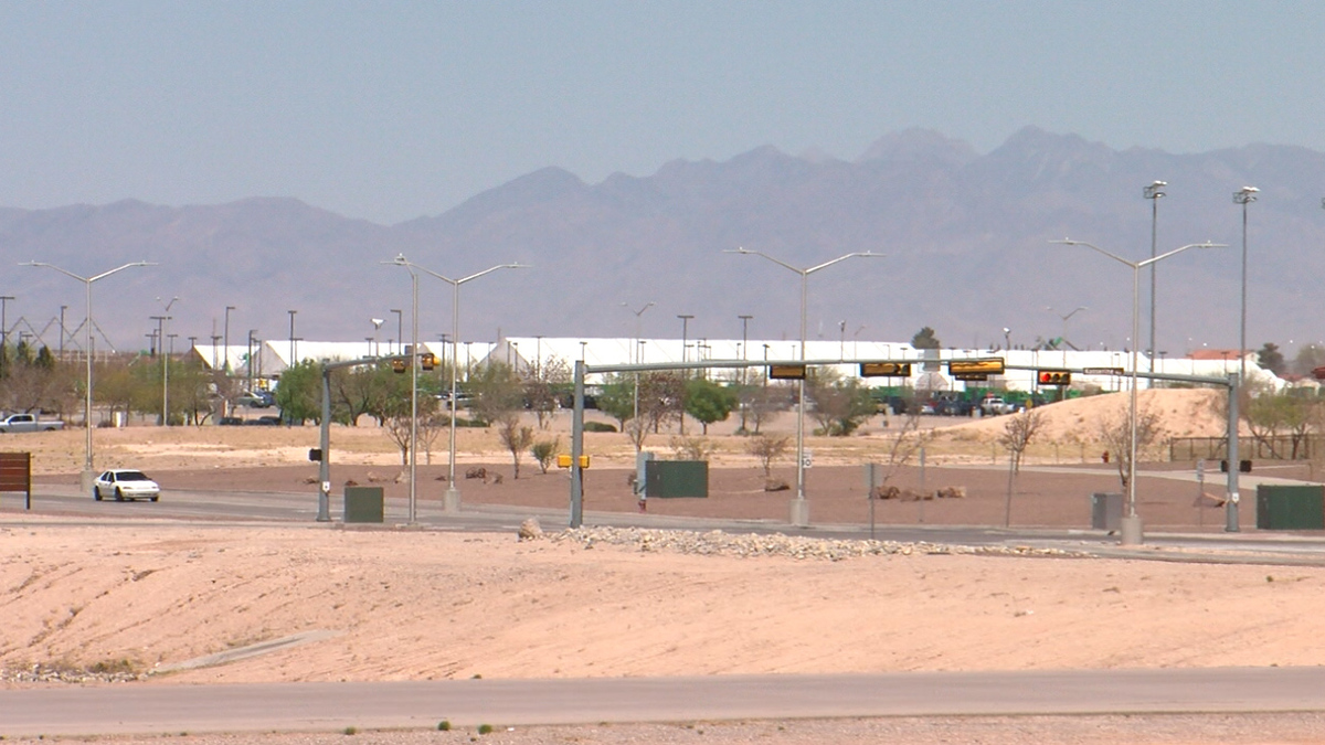 A view of the migrant facility set up on the grounds of Fort Bliss.