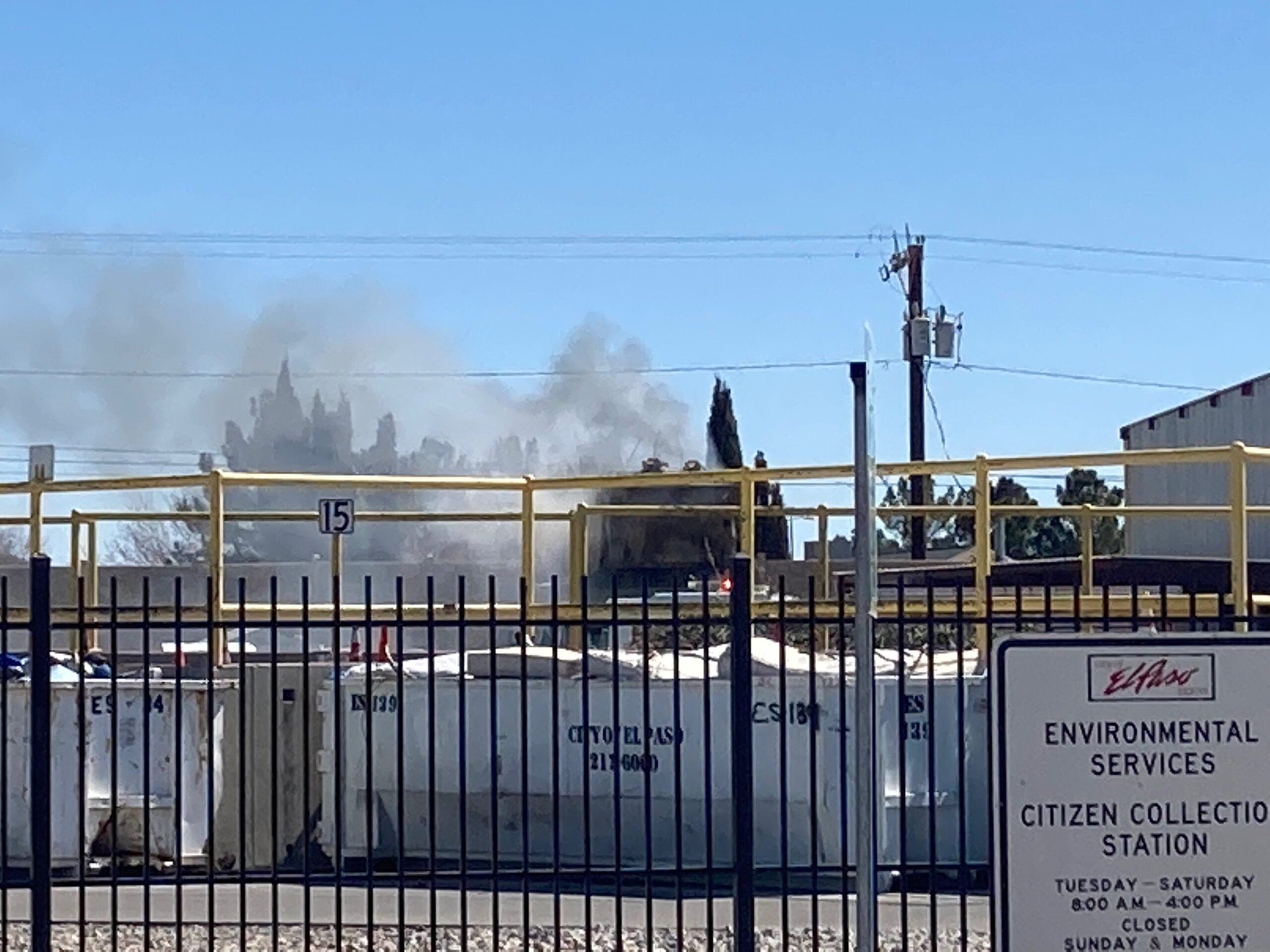 Scene of a fire at a city collection site on the east side.
