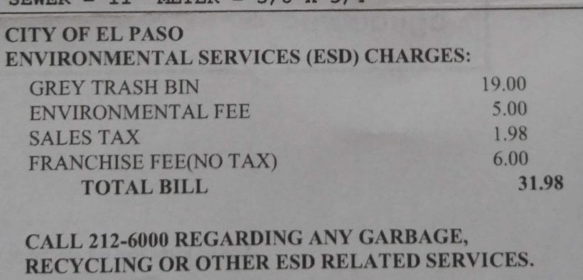 A City of El Paso bill showing fees added.