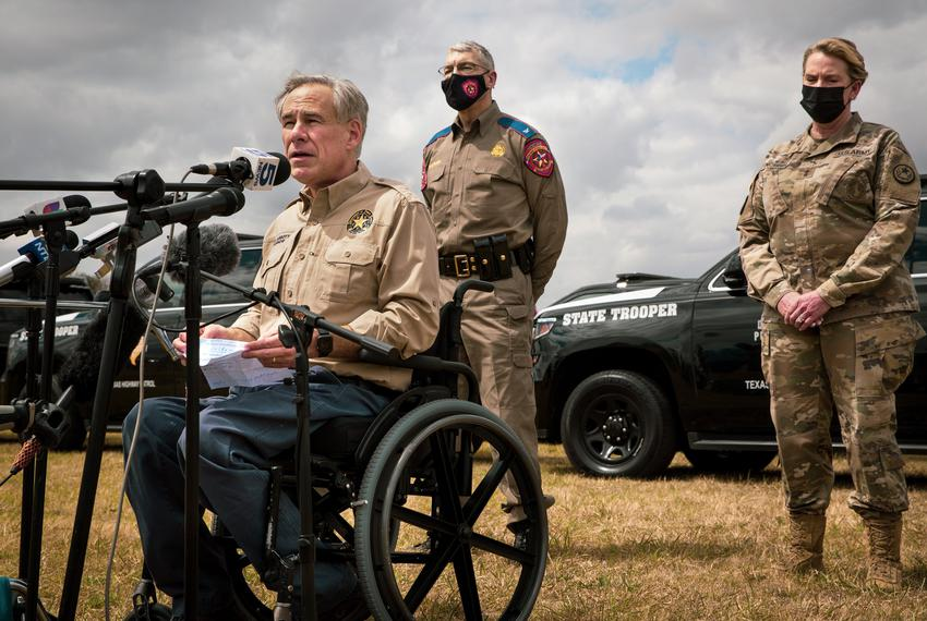 Gov. Greg Abbott speaks to the media recently at Anzalduas Park in Mission, Texas near the border.