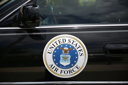 The U.S. Air Force seal on the side of a military vehicle.