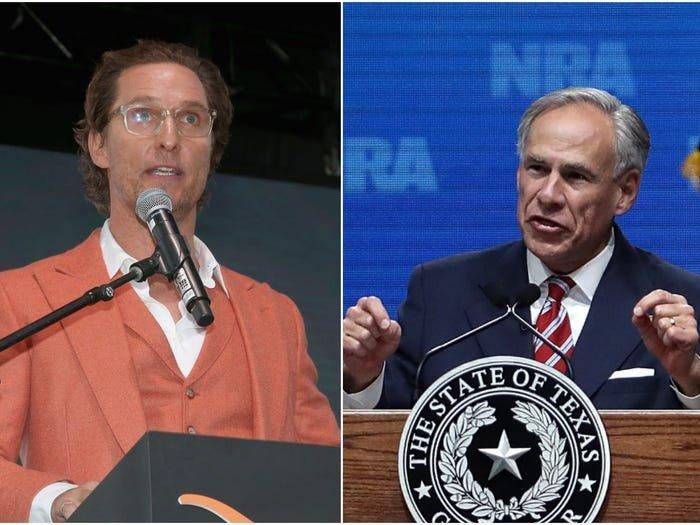 Actor Matthew McConaughey, left, and Texas Gov. Greg Abbott, right.