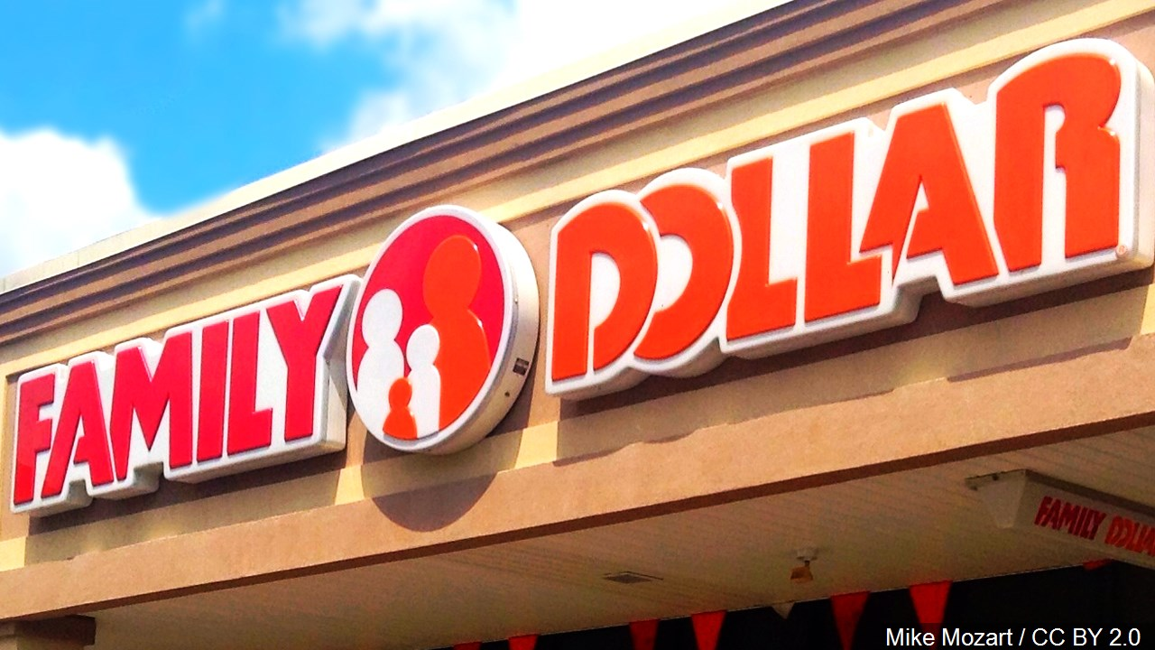 A Family Dollar store sign.
