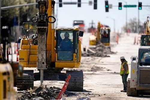 Water line construction crews at work in Kansas City, Missouri.