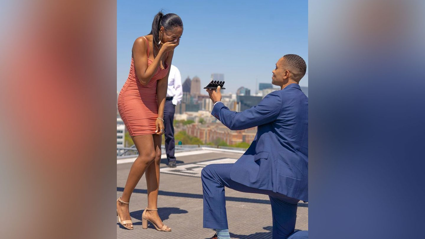 William Hunn proposes to Brittney Miller with five engagement rings in downtown Atlanta.
