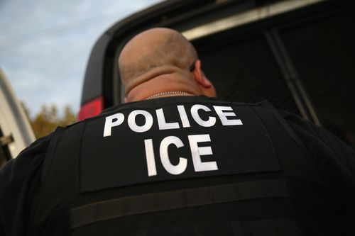 An Immigration and Customs Enforcement officer on duty.