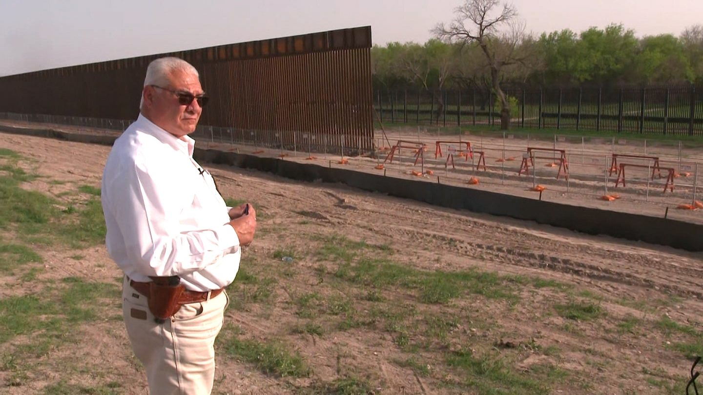 Val Verde County Sheriff Joe Frank Martinez shows what's supposed to be a two-mile stretch of US-Mexico border wall. So far, only a few hundred yards have been built.