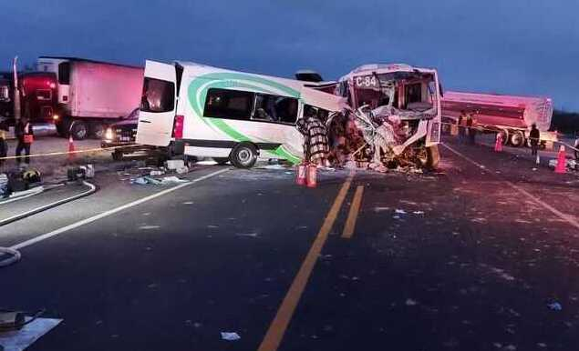 Head-on collision involving two buses near Caborca in Sonora, Mexico.